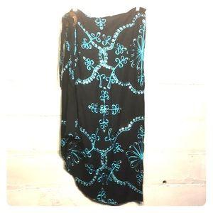 Beautiful sequined tie waist hi-low skirt size M-L